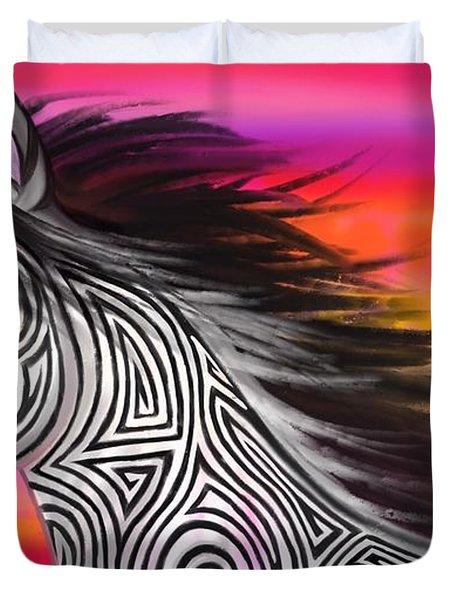 Sunset Ride Tribal Horse Duvet Cover