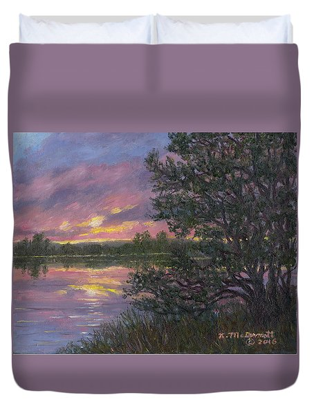 Duvet Cover featuring the painting Sunset River # 8 by Kathleen McDermott