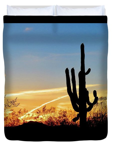 Sunset Saguaro In The Spring Duvet Cover
