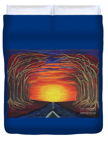 Treetop Sunset River Sail Duvet Cover