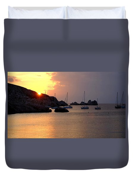 Sunset Sailing Boats Duvet Cover