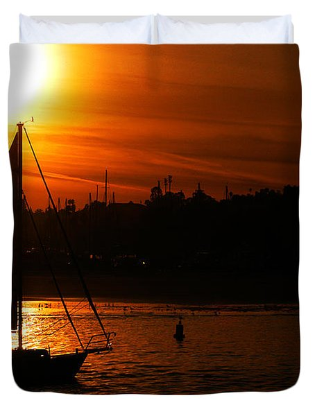 Sunset Sailing Duvet Cover