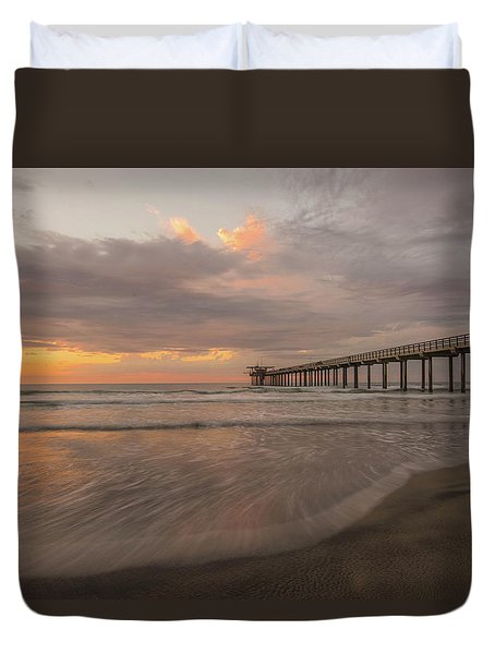 Sunset Scripps Beach Pier La Jolla San Diego Ca Image 4  Duvet Cover