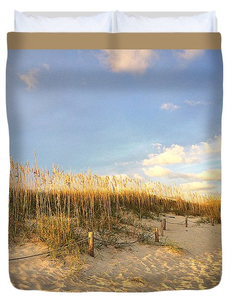 Duvet Cover featuring the painting Sunset Sea Oats by Shelia Kempf