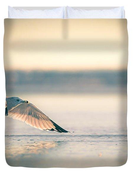 Sunset Seagull Takeoffs Duvet Cover