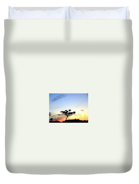 Sunset Seedhead Silhouette  Duvet Cover