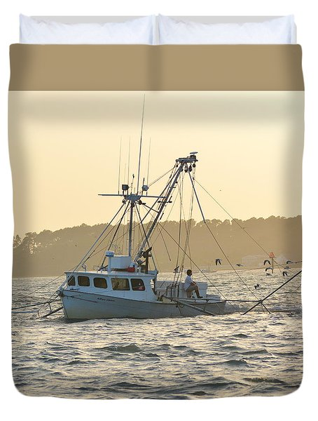 Sunset Shrimping With The Gulls Duvet Cover