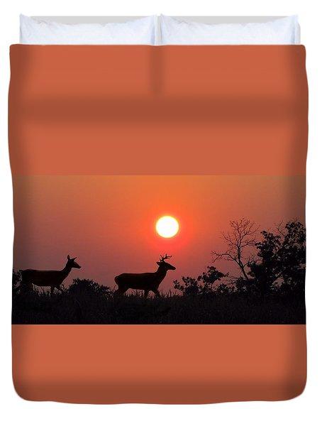 Sunset Silhouette Duvet Cover by David Dehner