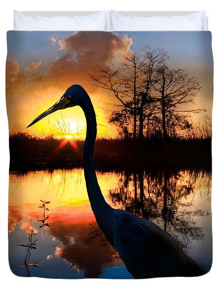 Sunset Silhouette Duvet Cover by Debra and Dave Vanderlaan