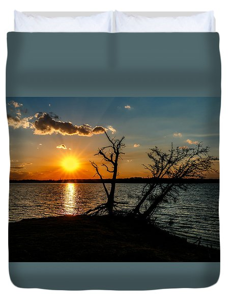 Sunset Silhouette Duvet Cover by Doug Long