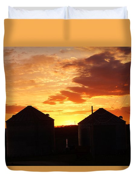 Duvet Cover featuring the digital art Sunset Silos by Jana Russon