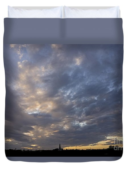 Duvet Cover featuring the photograph Sunset Sky by Inge Riis McDonald