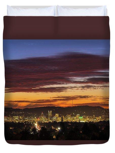 Sunset Sky Over Portland Oregon City Skyline Duvet Cover by David Gn