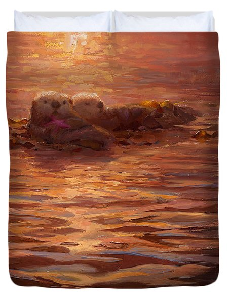 Sea Otters Floating With Kelp At Sunset - Coastal Decor - Ocean Theme - Beach Art Duvet Cover