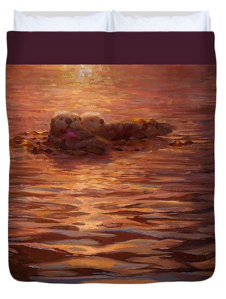 Sunset Snuggle - Sea Otters Floating With Kelp At Dusk Duvet Cover