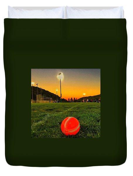 Sunset Soccer Game Duvet Cover