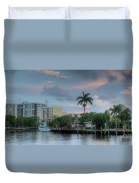 sunset South Florida canal Duvet Cover