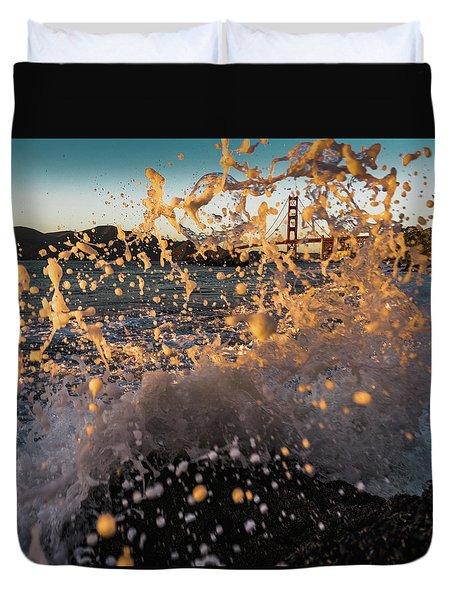 Sunset Splash Duvet Cover by Alpha Wanderlust