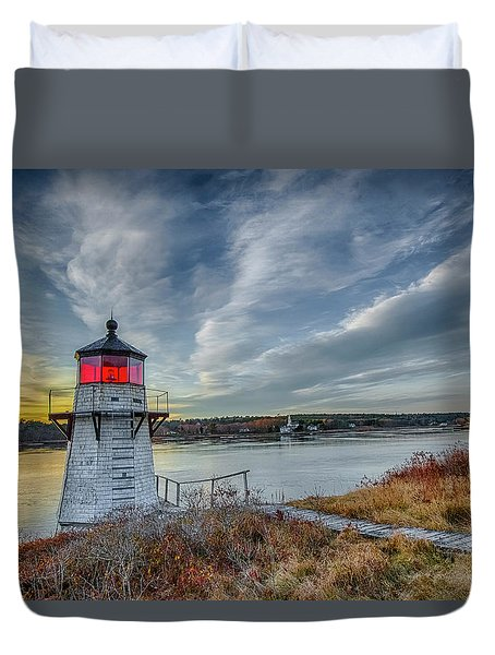 Sunset, Squirrel Point Lighthouse Duvet Cover