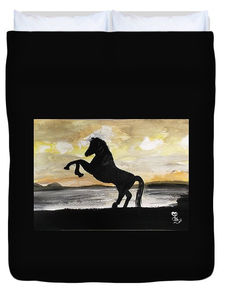 Sunset Stallion Duvet Cover