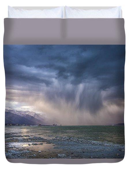 Sunset Storm Over Mono Lake Duvet Cover