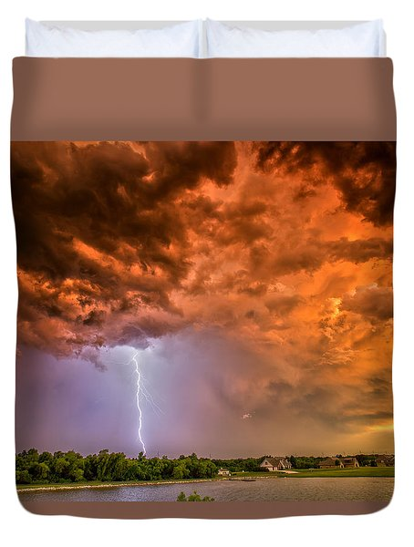 Duvet Cover featuring the photograph Sunset Strike by James Menzies