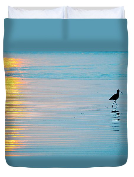 Duvet Cover featuring the photograph Sunset Stroll by AJ  Schibig