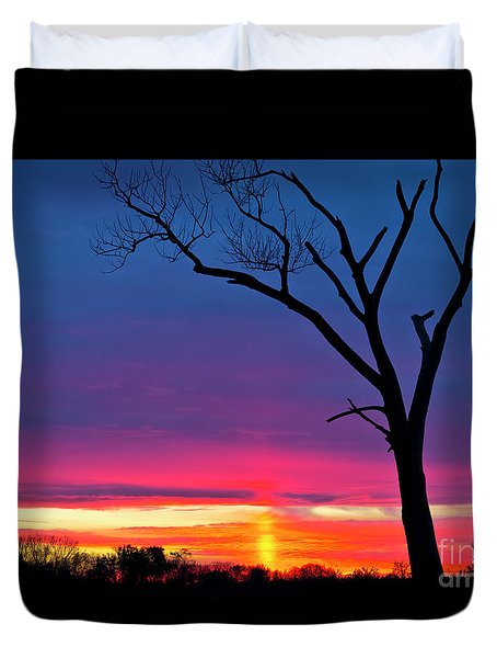 Sunset Sundog  Duvet Cover by Ricky L Jones