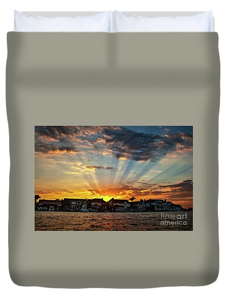 Sunset Sunrays Over Huntington Harbour Duvet Cover