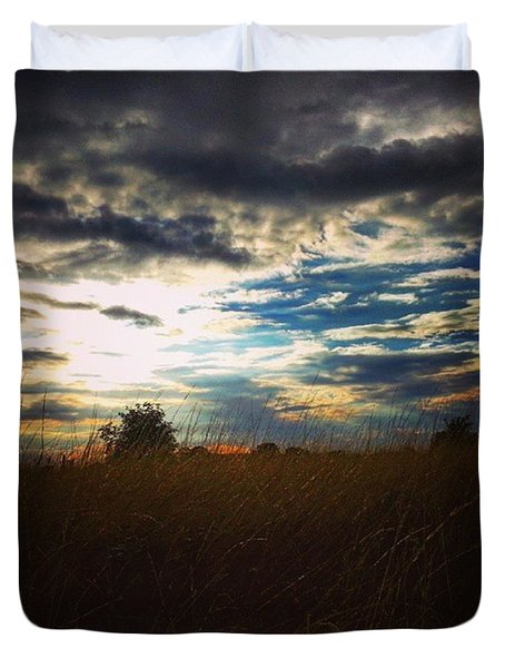 #sunset #sunrise #sun #rural #rurallife Duvet Cover