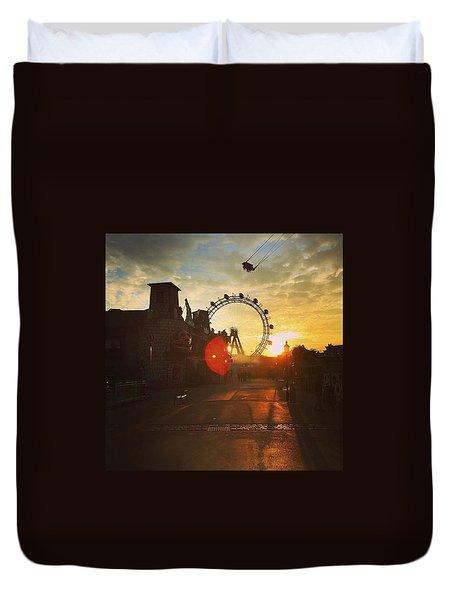 #sunset #sunsetlovers #sunrise #horizon Duvet Cover