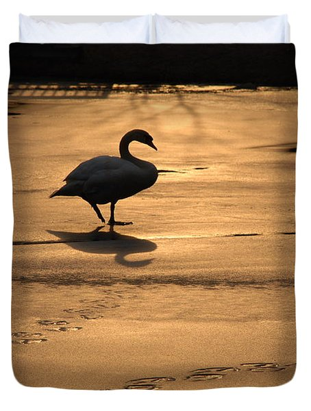 Duvet Cover featuring the photograph Sunset Swan by Richard Bryce and Family