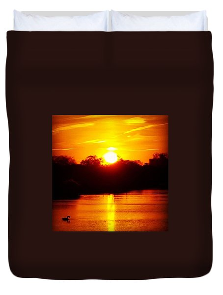 Sunset Swan Duvet Cover