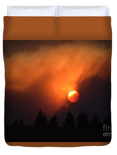 Sunset Through Smoke Duvet Cover