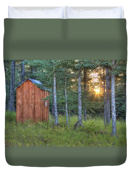 Duvet Cover featuring the photograph Sunset Through Spruce by Michele Cornelius