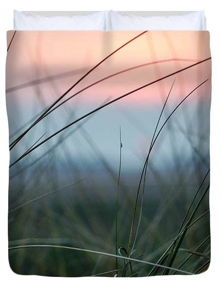 Sunset  Through The Marsh Grass Duvet Cover
