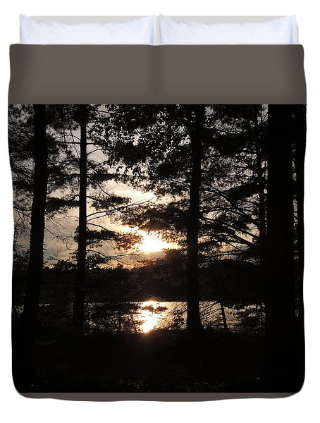 Sunset Through The Pines Duvet Cover by Teresa Schomig
