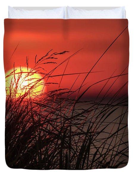 Sunset Through The Reeds Lavallette Nj Duvet Cover