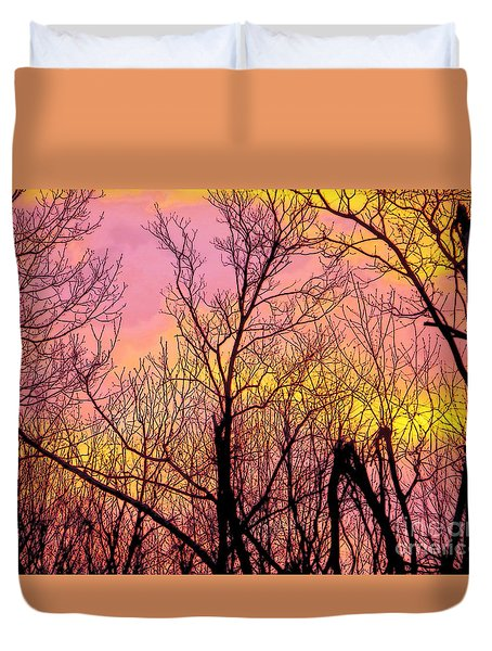 Sunset Through The Trees Duvet Cover by Craig Walters