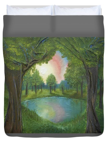 Sunset Through Trees Duvet Cover by Angela Stout