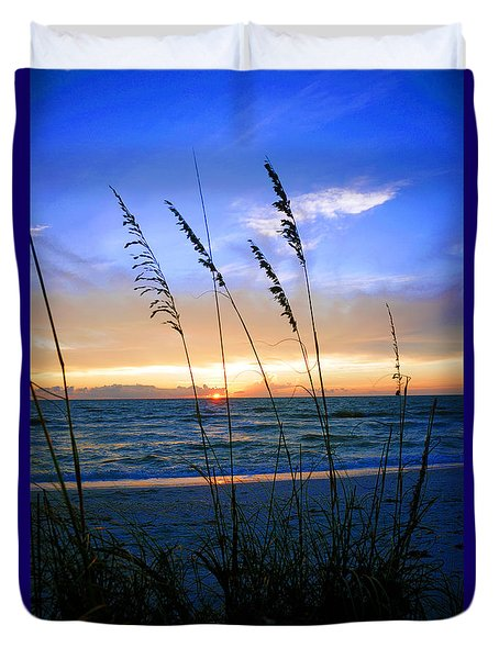 Sunset Thru The Sea Oats At Delnor Wiggins Duvet Cover