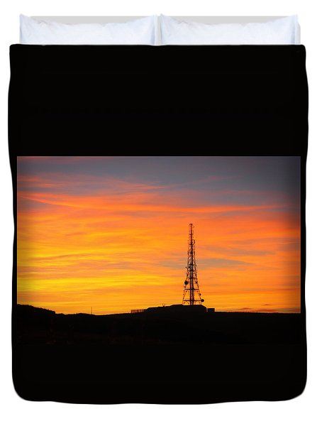 Duvet Cover featuring the photograph Sunset Tower by RKAB Works