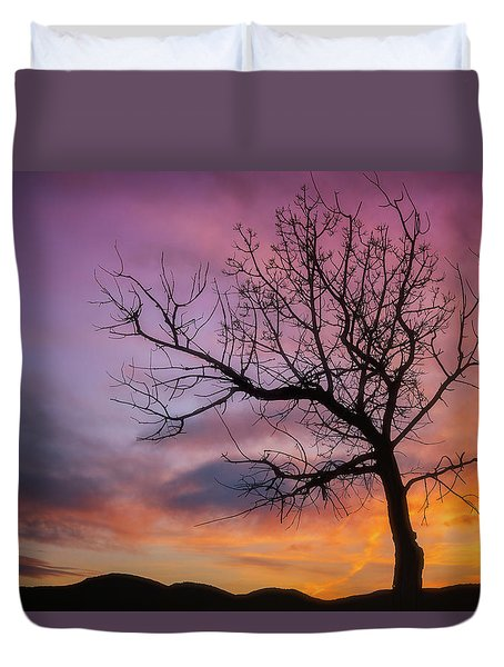 Duvet Cover featuring the photograph Sunset Tree by Darren White