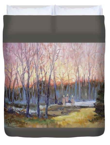 Sunset Trees Duvet Cover
