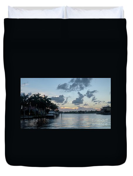 Sunset Tropical Canal Duvet Cover