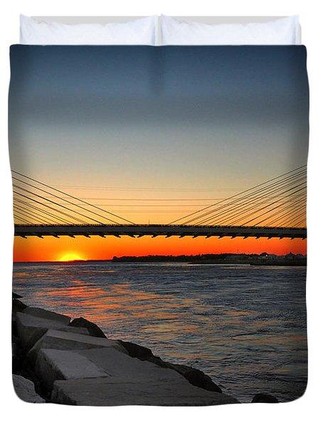Sunset Under The Indian River Inlet Bridge Duvet Cover