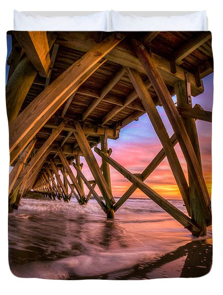 Sunset Under The Pier Duvet Cover