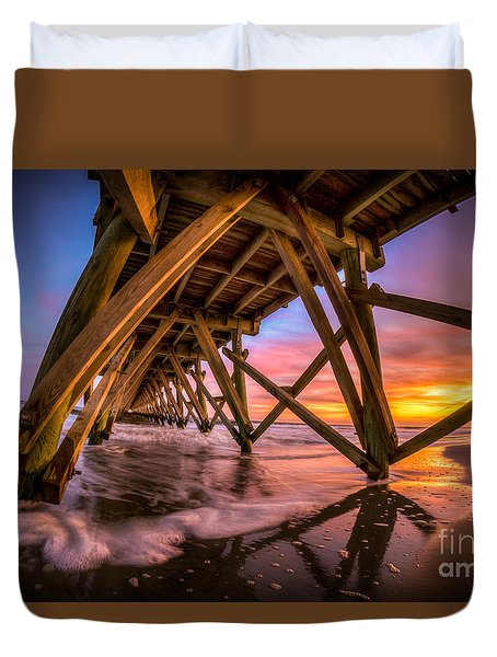 Sunset Under The Pier Duvet Cover