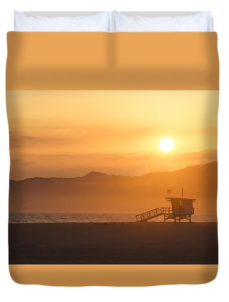 Duvet Cover featuring the photograph Sunset Venice Beach  by Christina Lihani