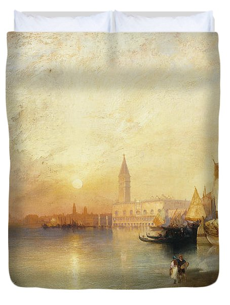 Sunset Venice Duvet Cover by Thomas Moran